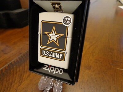 US ARMY STAR WHITE MATTE UNITED STATES ARMY ZIPPO LIGHTER MINT IN BOX