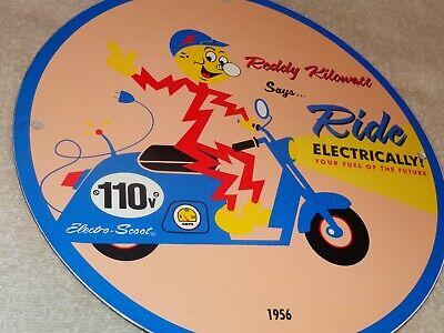 "VINTAGE 56 REDDY KILOWATT ELECTRIC SCOOTER 11 3/4"" PORCELAIN METAL GASOLINE SIGN"