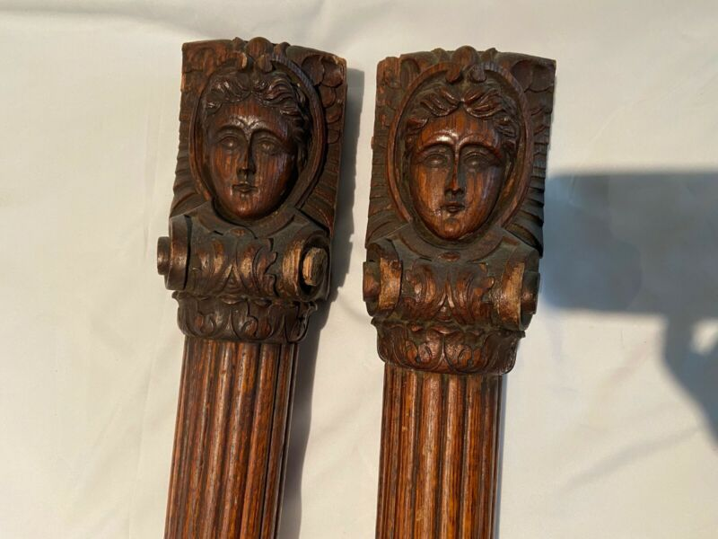 LATE 19TH CENTURY CARVED OAK ARCHITECTURAL SALVAGE ELEMENTS - PAIR