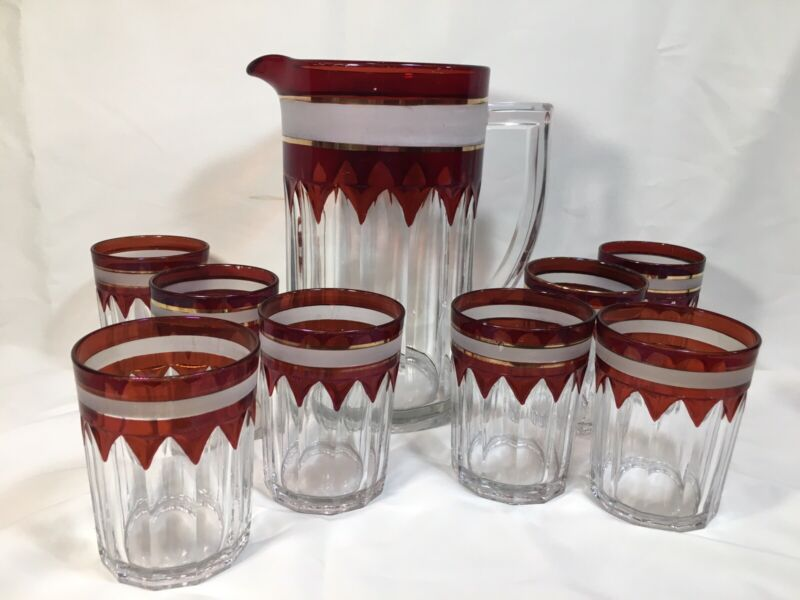 Antique EAPG New Martinsville/Old Colony Ruby & Glass Water/Lemonade Set for 8