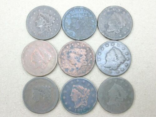 Lot of 9 Low Grade Large Cents 6 Different Mixed Dates 1818-1837 Q2K2