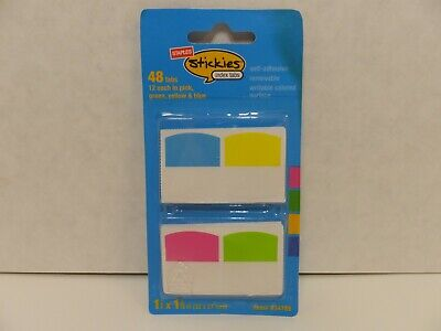 Staples Stickies Tabs Assorted Colors 1.06 Wide 48pack 35020