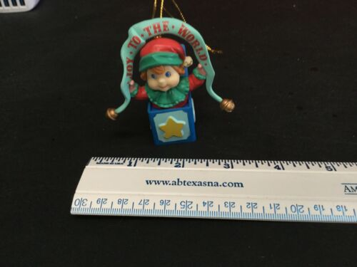 Lustre Fame Vintage Joy to the World Elf in box ornament 1993