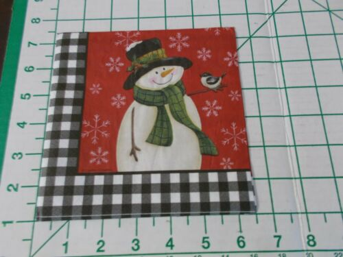 """Two Decorative Luncheon Napkins for Decoupage """"Loving Snowman"""" 2-ply"""