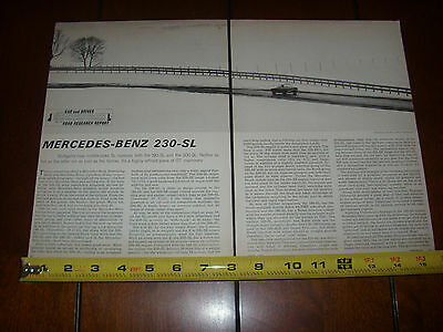 1963 MERCEDES BENZ 230-SL - ORIGINAL VINTAGE ARTICLE LITERATURE