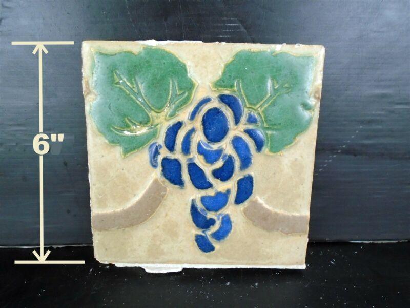 VERY RARE - Grueby Tile - (4 COLOR) w/BLUE GRAPES - 6x6