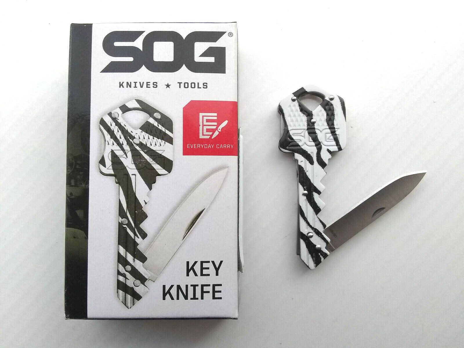 SOG Womens Ladies Zebra Folding Key Chain Mini Purse Lockback Blade Pocket Knife EDC