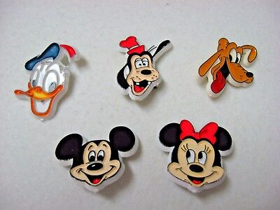 Vintage Lot of 5 DISNEY classic PINS BUTTONS white plastic