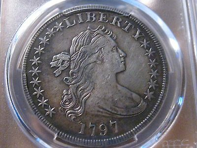Click now to see the BUY IT NOW Price! 1797 SMALL EAGLE 10/6 STARS  DRAPED BUST  DOLLAR / PCGS XF DETAILS