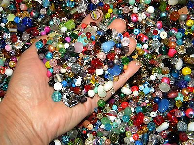 NEW 6/oz Multi colored mixed beads lot 6-15mm GLASS Fiesta mix