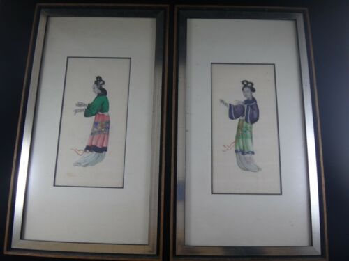 Antique Chinese A Set of Pith Paper Paintings of Two Dancing Ladies w/ Frame 19c