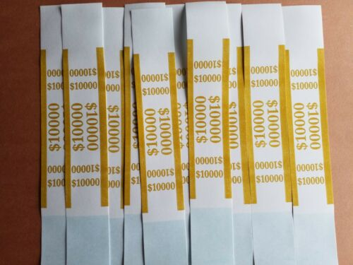 10 Self Sealing Gold $10000 Straps Currency Bands for bank money cash bill