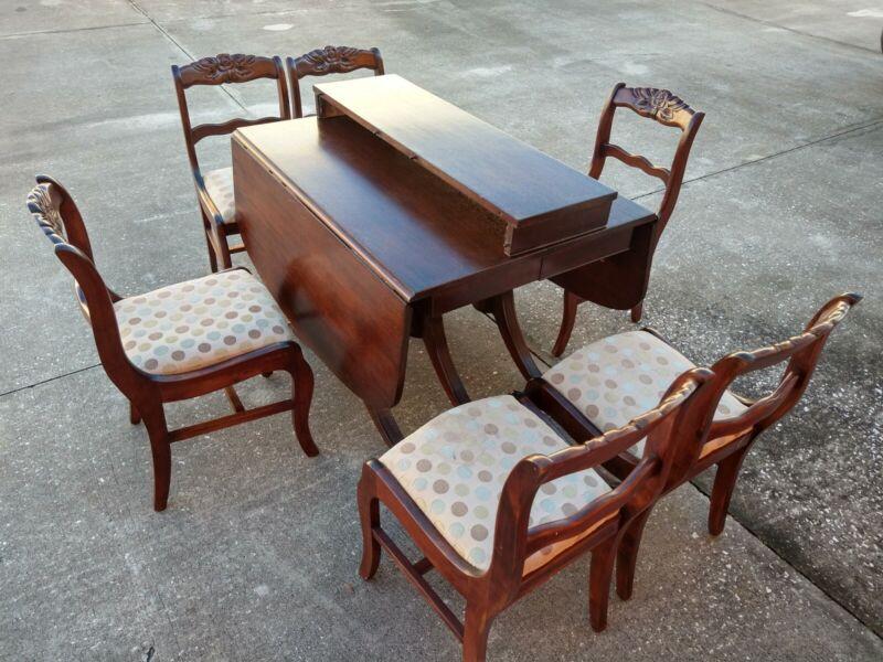 Duncan Phyfe Style Dining Set 1 Leaf Drop Leaf Table & 6 Carved Rose Back Chair