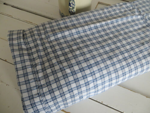 Antique Duvet Cover Checkered Handwoven Linen White Blue German 1880 Farmhouse