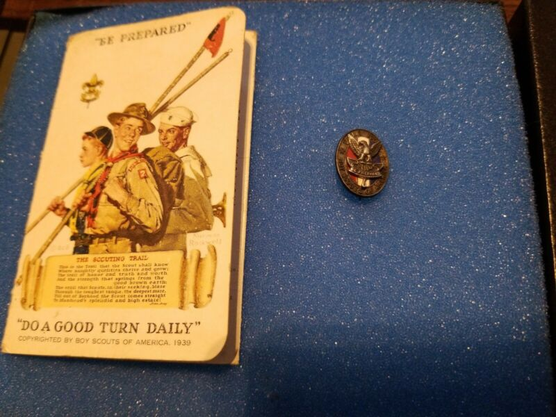 Antique Vintage Sterling Silver Boy Scouts of America Eagle Scout Enamel Pin