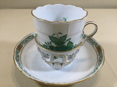 1 Of 6 Herend Hungary Green CHINESE BOUQUET #713 TREMBLEUSE BASKET CUP & SAUCER