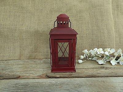 Red Metal Lantern Tea-Light Candle Holder ~ Wedding Holiday Centerpiece Decor ()