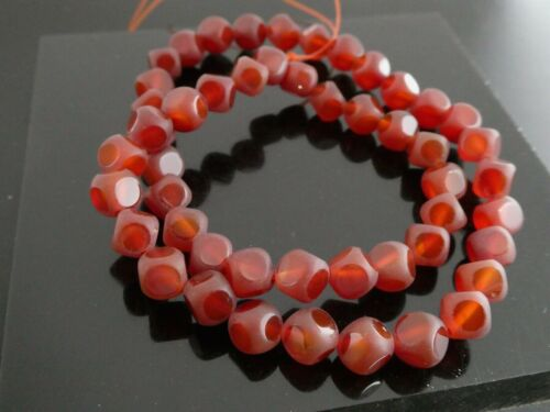 """Natural Carnelian Gemstone 8.5mm Matte And Polished Square Beads 15"""" Std"""