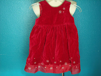 Old Navy Girl Sz 3T Dress Xmas Winter Holiday Picture Red Velvet Snowflakes