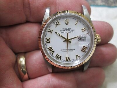 MENS ROLEX 18K GOLD & STAINLESS DATEJUST 16233 RUNNING WATCH W BOX EXTRA LINKS