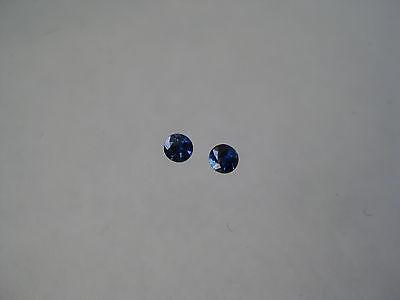 2.7 MM. Round Natural Rich Blue Sapphires Diamond Cut 2 Pieces Weight .22 Carats