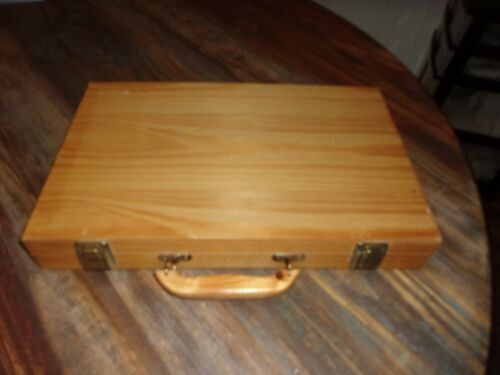 """Latched Wooden Box with  Handle 14"""" x 9.5"""" x 2"""""""