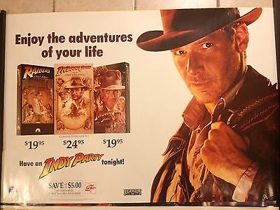 Indiana Jones Movie Poster  Indy Party  Harrison Ford  Rare  Only 1 On Ebay