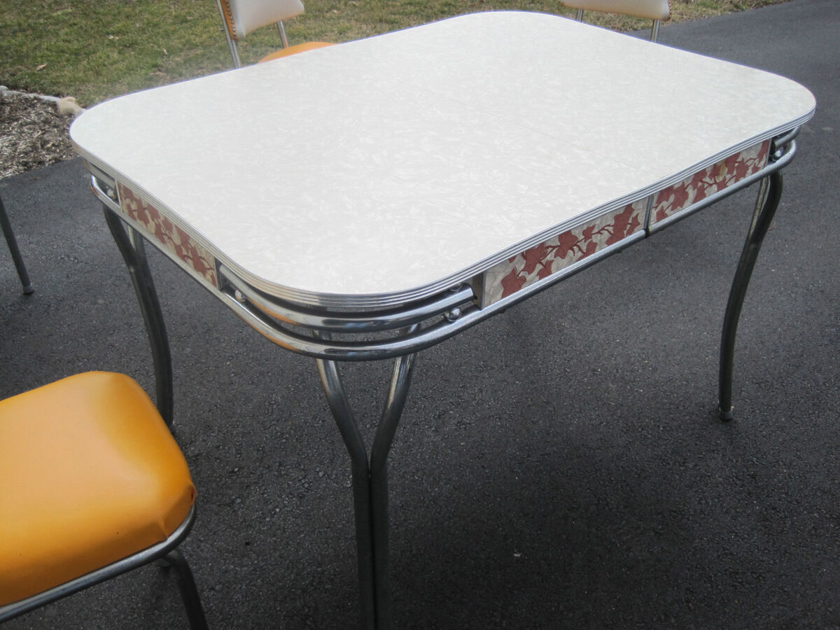 Vintage formica chrome kitchen table set w chairs retro - Retro formica table ...