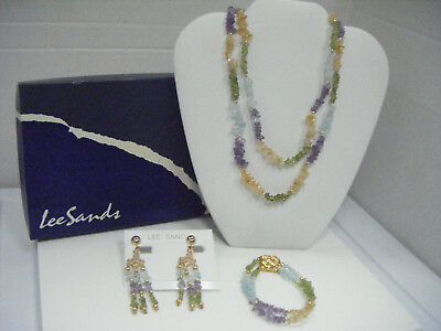 Lee Sands  Dble Strand peridot citrine amethyst blue topaz  necklace ear bracele Amethyst Citrine Jewelry Set