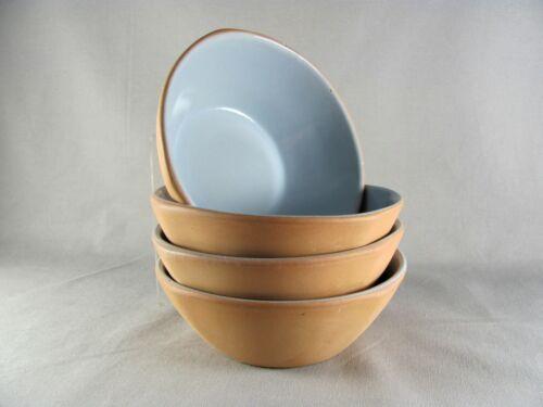 "4 Frankoma Plainsman Terra Cotta Mountain Haze Cereal Bowls, 6"", blue, # 5X"