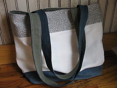 Horizontal Stripe Recycled Denim Medium Tote Bag Purse Totebag White & Floral