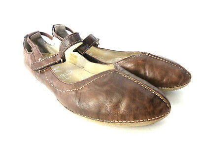 KHRIO EUR 41 US 10.5M Soft Brown Leather Mary Janes Flats w Flexible Soles