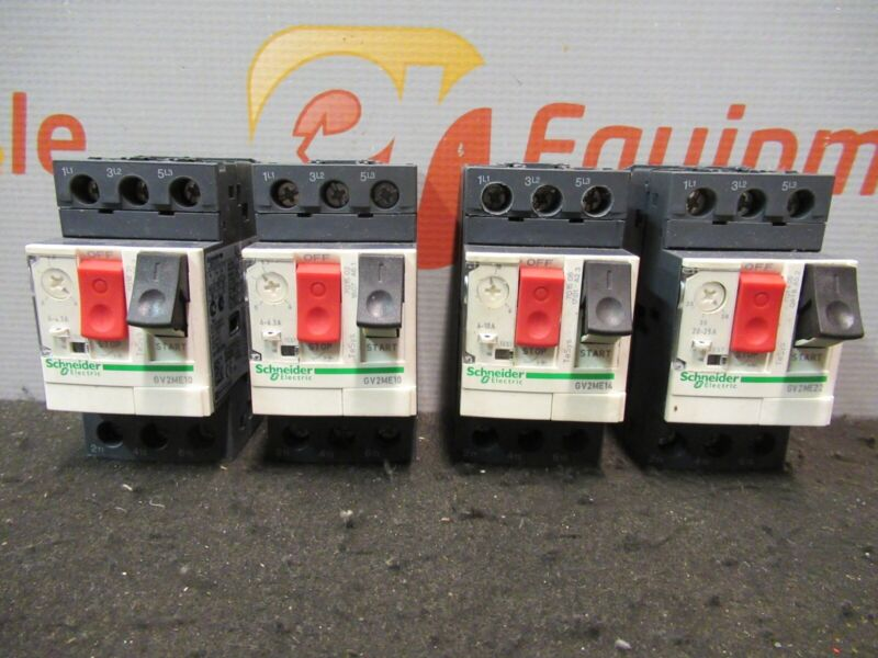 Schneider Electric GV2ME10 GV2ME14 GV2ME22 Motor Circuit Breakers Lot of 4