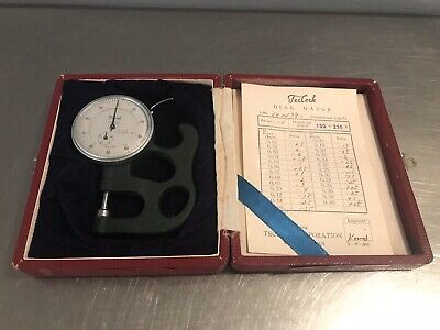 Vintage Teclock Dial Thickness Gauge With Box Made In Japan