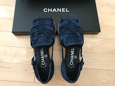 $950 NIB 17C 100%Auth Chanel Navy Suede Caged Flats Euro 35