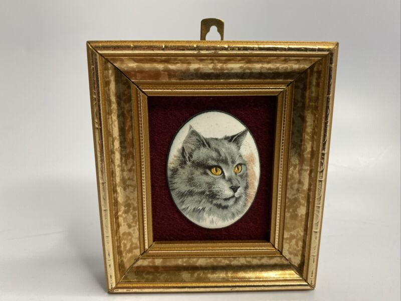 """Enamel On Copper Mini Cat Face In Picture Frame Hand Made London 3-1/4"""" x 2-7/8"""""""
