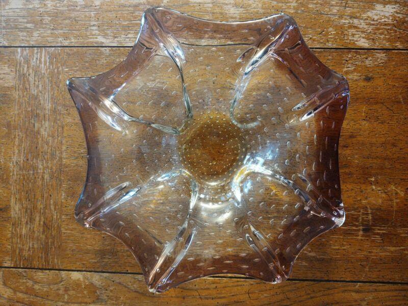 Vintage Glass Chip/Dip Candle Holder Purple Amber Handmade