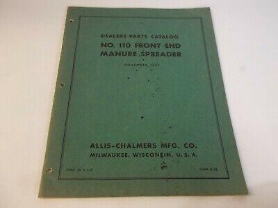 1957 Allis Chalmers No. 110 Front End Manure Spreader Dealer Parts Catalog