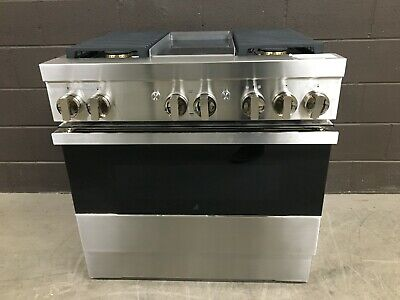 "Jenn-Air NOIR JDRP536HM - 36"" PRO Dual Fuel Range 4 Burners + Griddle SS"