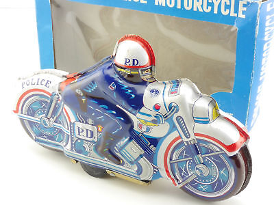 Japan 51 Police Department D.P. Bike Motorrad Blech Friktion 60er OVP 1604-12-21
