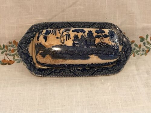 VINTAGE BLUE WILLOW BUTTER DISH JAPAN