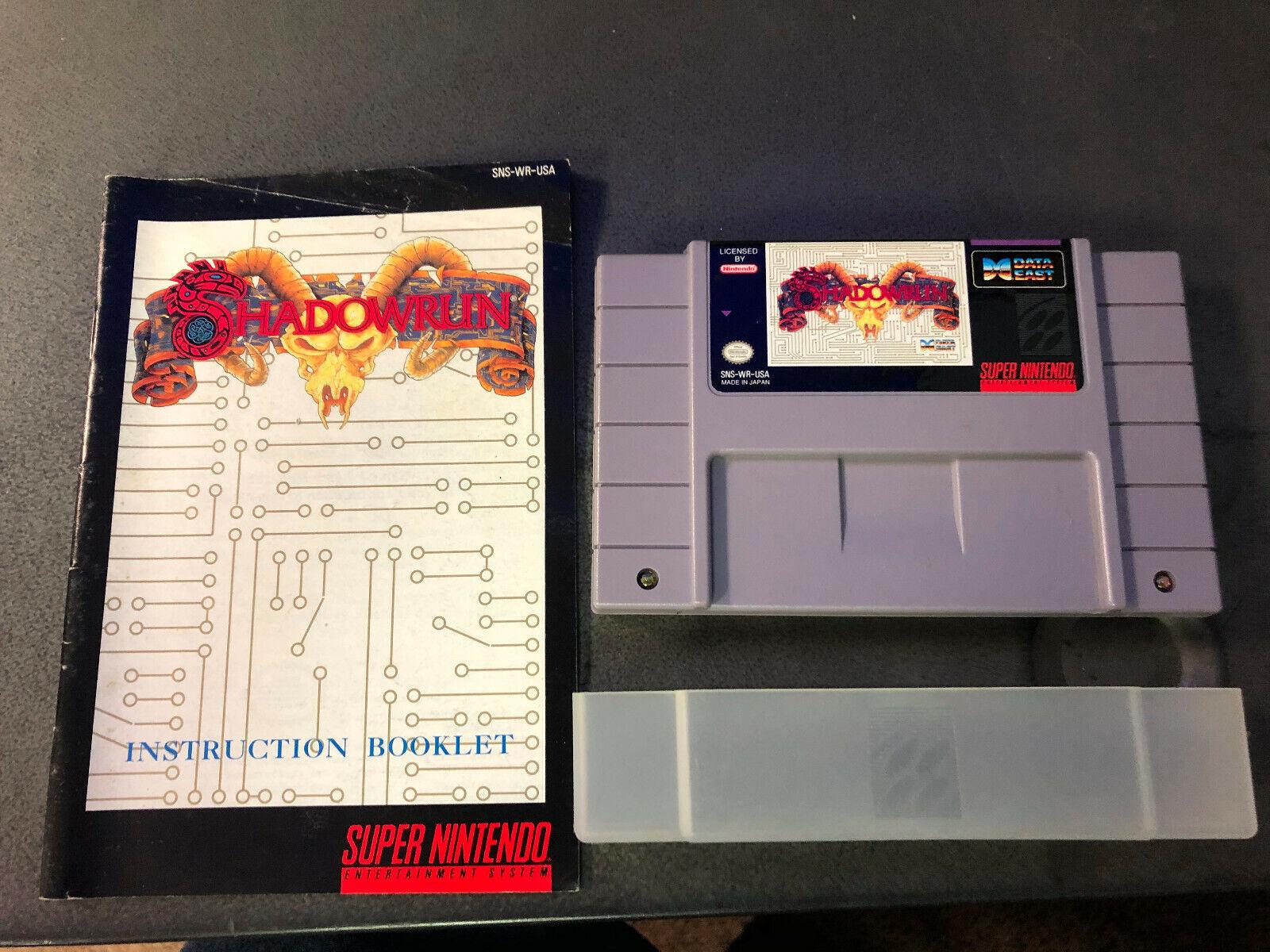 Shadowrun Super Nintendo SNES, 1993 W/ Manual Authentic RARE Tested  - $79.00