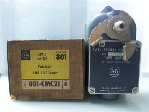 New Allen Bradley 801-CMC21 Fork Lever Limit Switch Series A NIB