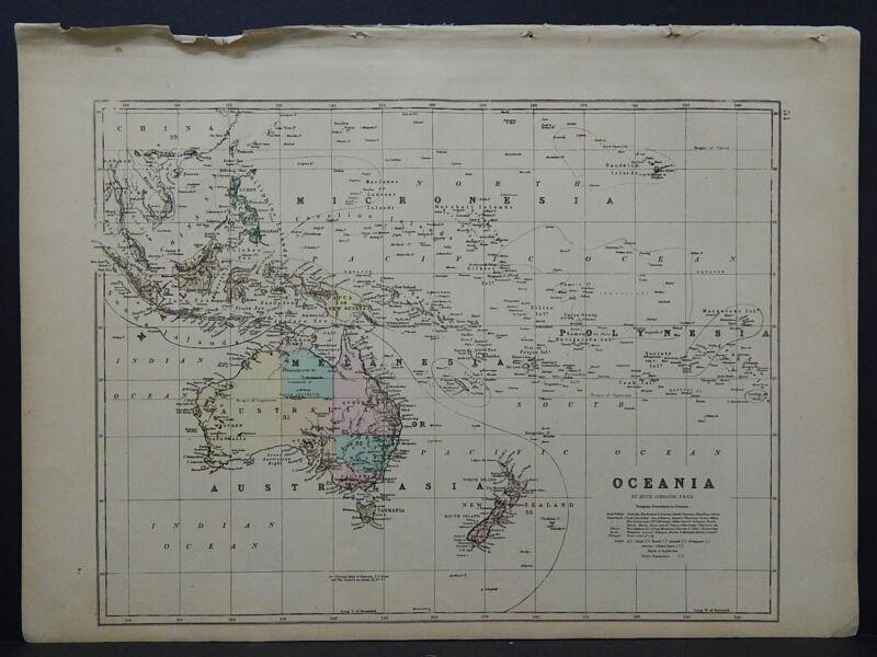 Antique Map, 1875, Australia, Oceania