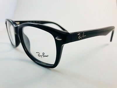 New Authentic Ray Ban Eyeglasses RB 5228 2000 shiny black 53-17-140 NWT & case