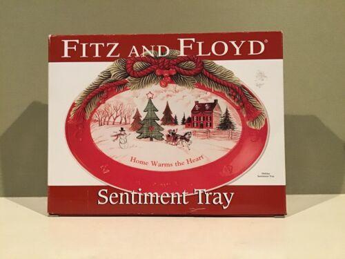 Fitz & Floyd Christmas Holiday Sentimental Tray Home Warms the Heart NIB
