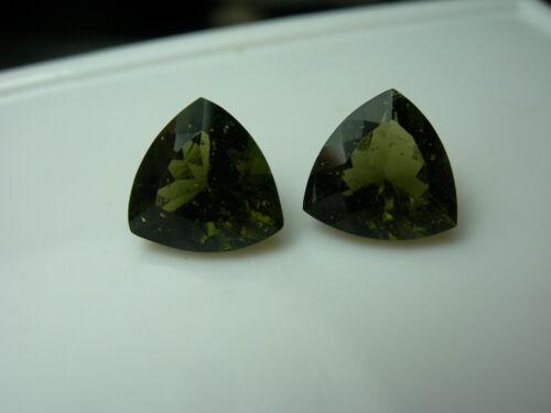 2 rare Moldavite Gems GREEN GENUINE Czech Tektite gemstone meteorite IMCA