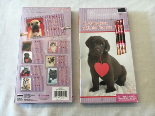 32 Valentines Day Cards w PENCILS * RACHEL HALE Puppy Dog & Kitty Cat New LOT