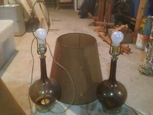 Two antique glass lamps