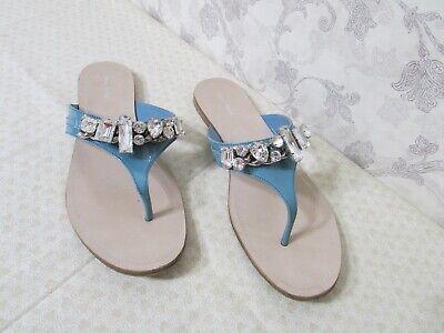 Miu Miu Blue Patent Leather Jeweled Toe Thong Sandal Flip Flop Flat Shoes  40